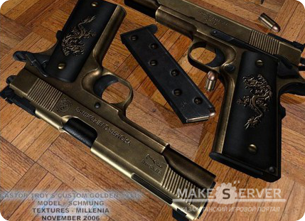 Chromed Dual Castor Troy's Custom Golden 1911